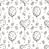 Seamless vector pattern with hand drawn air balloons on the white background. Royalty Free Stock Photos