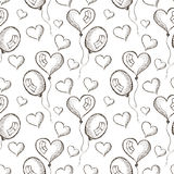 Seamless vector pattern with hand drawn air balloons on the white background. Royalty Free Stock Photography