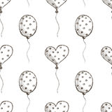 Seamless vector pattern with hand drawn air balloons on the white background. Royalty Free Stock Image