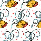 Seamless vector pattern with hand drawn bells and ribbons. design for christmas, covers, packaging Royalty Free Stock Photos