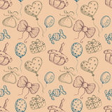 Seamless vector pattern with hand drawn colorful air balloons, bows, gifts, cake, candy on the beige background. Series of Cartoon, Doodle, Sketch and Hand vector illustration