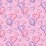 Seamless vector pattern with hand drawn colorful air balloons on the pink background Stock Images