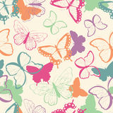 Seamless vector pattern with hand drawn colorful butterflies, silhouette vibrant Stock Photography