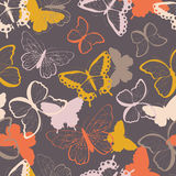 Seamless vector pattern with hand drawn colorful butterflies, silhouette vibrant Royalty Free Stock Photo