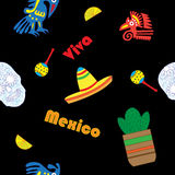 Seamless vector pattern with hand drawn elements of Mexican. Guitar, sombrero, skull, Aztec mask, music instruments. Perfect background for your design. Travel Stock Photos