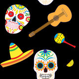 Seamless vector pattern with hand drawn elements of Mexican. Guitar, sombrero, skull, Aztec mask, music instruments. Perfect background for your design. Travel Royalty Free Stock Photos