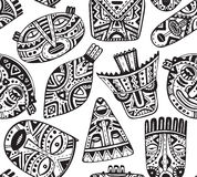 Seamless vector pattern with hand drawn fancy masks in african s Royalty Free Stock Photography