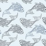 Seamless vector pattern with hand drawn fish illustrations Royalty Free Stock Photography