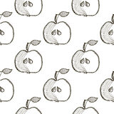 Seamless vector pattern with hand drawn fruits. Background with apples. Series of Cartoon, Doodle, Sketch and Hand drawn Seamless Patterns Royalty Free Stock Image