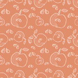 Seamless vector pattern with hand drawn fruits. Background with apples. Series of Cartoon, Doodle, Sketch and Hand drawn Seamless Patterns Royalty Free Stock Photography