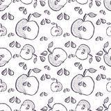 Seamless vector pattern with hand drawn fruits. Background with apples. Series of Cartoon, Doodle, Sketch and Hand drawn Seamless Patterns Royalty Free Stock Photos