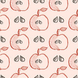 Seamless vector pattern with hand drawn fruits. Background with apples. Series of Cartoon, Doodle, Sketch and Hand drawn Seamless Patterns Royalty Free Stock Photo