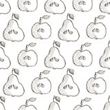 Seamless vector pattern with hand drawn fruits. Background with pears and apples. Series of Cartoon, Doodle, Sketch and Hand drawn Seamless Patterns Royalty Free Stock Image