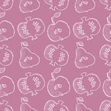 Seamless vector pattern with hand drawn fruits. Background with pomegranates, apples, pears. Royalty Free Stock Image