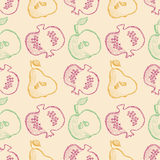 Seamless vector pattern with hand drawn fruits. Background with pomegranates, apples, pears. Series of Cartoon, Doodle, Sketch and Hand drawn Seamless Patterns Stock Images