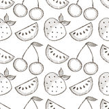Seamless vector pattern with hand drawn fruits. Black and white Background with watermelons, srawberries and cherries. Stock Photo