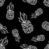 Seamless vector pattern. Hand drawn fruits illustration of pineapple on the Line drawing. Print for wallpaper, background, surface Royalty Free Stock Image