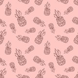 Seamless vector pattern. Hand drawn fruits illustration of pineapple on the Line drawing. Print for wallpaper, background, surface Stock Images