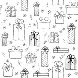 Seamless vector pattern with hand drawn gift boxes. May be used as a coloring book Royalty Free Stock Photography