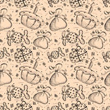 Seamless vector pattern with hand drawn gifts, cake, candy on the beige background. Series of Cartoon, Doodle, Sketch and Hand drawn Seamless Patterns royalty free illustration