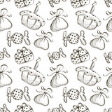 Seamless vector pattern with hand drawn gifts, cake, candy on the white background. Series of Cartoon, Doodle, Sketch and Hand drawn Seamless Patterns Stock Photos