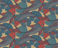 Seamless vector pattern with hand drawn Koi fish. (Japanese carp), lotus leaves. Symbol of love, friendship and prosperity. Colorful endless background Royalty Free Stock Images
