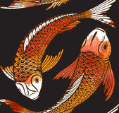 Seamless vector pattern with hand drawn Koi fish Stock Images