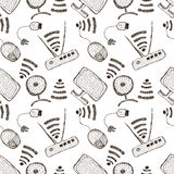 Seamless vector pattern with hand drawn monitor, pc mouse, wifi router and usb cable on the white background. Stock Photography