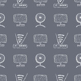 Seamless vector pattern with hand drawn monitor, wifi router and web camera on the blue background. Stock Images