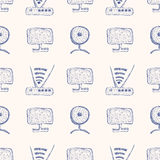 Seamless vector pattern with hand drawn monitor, wifi router and web camera on the white background. Stock Photography
