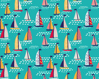 Seamless vector pattern with  hand drawn sailing yachts. Stock Images