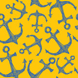 Seamless vector pattern hand drawn sea anchor Royalty Free Stock Photos