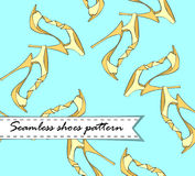 Seamless vector pattern of hand drawn shoes. Yellowon blue Royalty Free Stock Photos