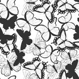 Seamless vector pattern with hand drawn silhouette butterflies, black and white vector illustration