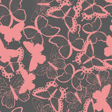 Seamless vector pattern with hand drawn silhouette butterflies, pink and gray Stock Image
