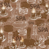 Seamless vector pattern with hand  drawn silhouette spa accessor Royalty Free Stock Photography