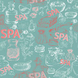 Seamless vector pattern with hand  drawn silhouette spa accessories. Royalty Free Stock Photo