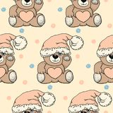 Seamless vector pattern with hand drawn toy bears in a hat. design for children, covers, packaging, presents Stock Images