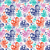 Seamless vector pattern with hearts. Background with colorful hand drawn ornamental symbols and decorative elements on the white. Decorative repeating ornament Stock Images