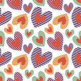 Seamless vector pattern with hearts. Background with colorful hand drawn ornamental symbols on the white. Royalty Free Stock Image