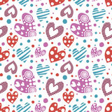 Seamless vector pattern with hearts. Background with different colorful hand drawn ornamental  Royalty Free Stock Photos