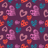 Seamless vector pattern with hearts. Background with different colorful hand drawn ornamental symbols on the violet Royalty Free Stock Images