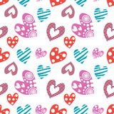 Seamless vector pattern with hearts. Background with different colorful hand drawn ornamental symbols on the white. Stock Photography