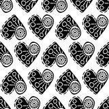 Seamless vector pattern with hearts. Black and white abstract background with drawn elements and ornamental symbols. Decorative repeating ornament Vector Illustration