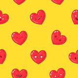 Seamless vector pattern of hearts with different emotions Royalty Free Stock Photography