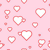 The seamless vector pattern with the hearts on the pink background. The vector picture. EPS 8 Stock Image