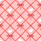 Seamless vector pattern with hearts and ribbons. Can be used for wallpaper, pattern fills, web page background, fabric. Surface textures, gifts, scrapbooking Stock Images