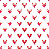 Seamless vector pattern with hearts. Valentine`s Day background for greeting cards, scrap booking, textile and wrapping paper Stock Photography