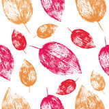 Seamless vector pattern herbal autumn orange red yellow hand drawn leaf texture background, imprint leaves sketch Stock Photo