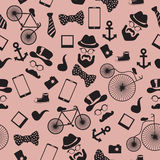 Seamless vector pattern in hipster style Royalty Free Stock Photography